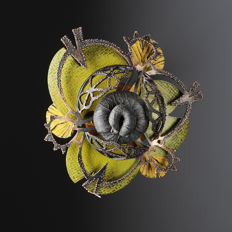 Rosette Brooch 13-11  |  2011  |  copper, brass, polymer  |  3.75 x 3.5 x 1.5 inches