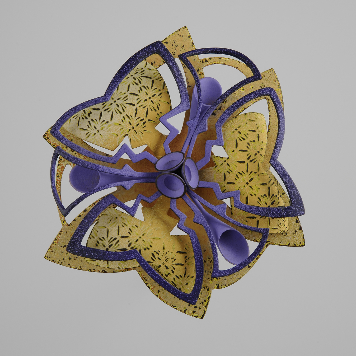 Rosette Brooch 28-16  |  2016  |  bronze, copper  |  5 x 5 x .75 inches