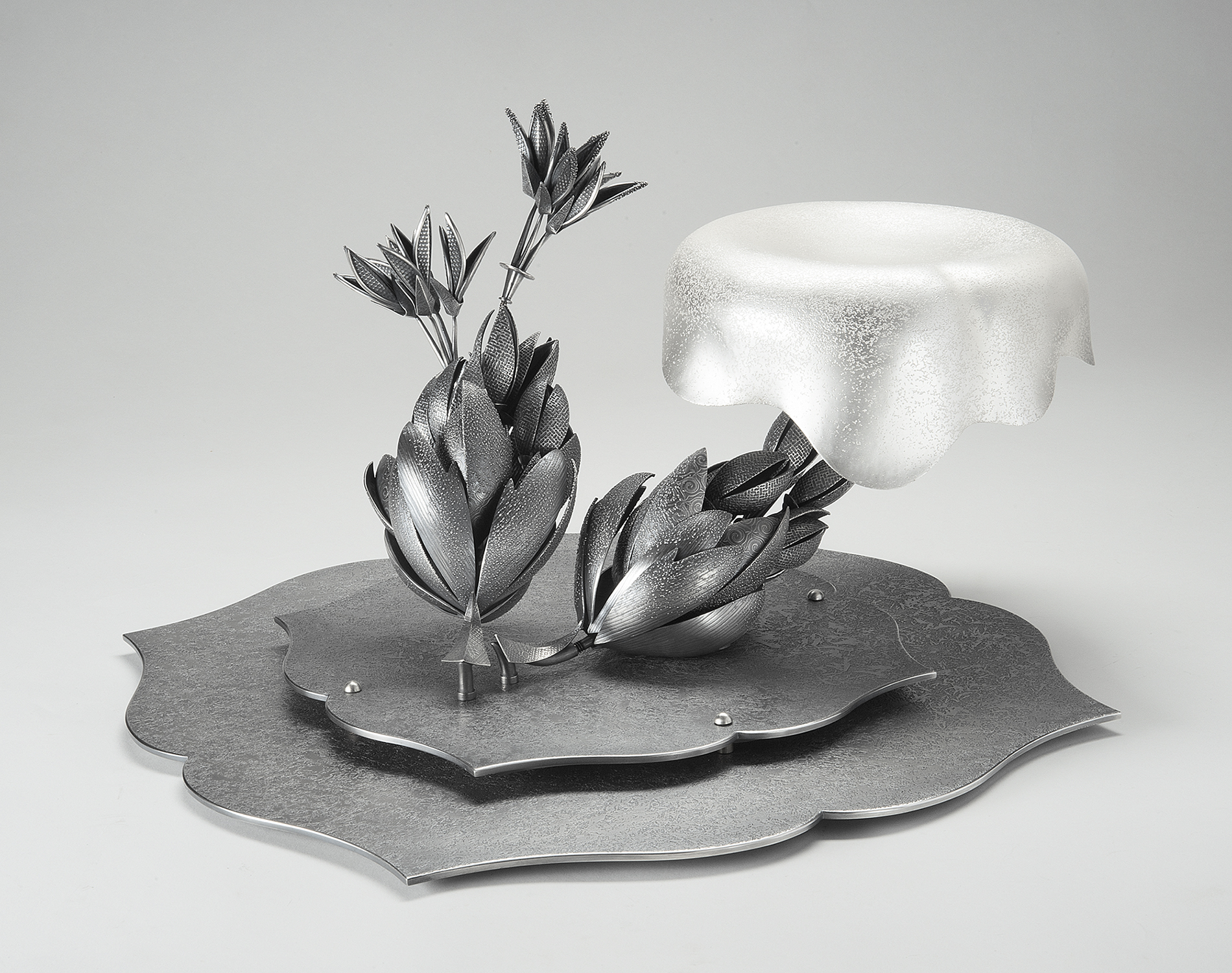 Salverbloom  |  2015  |  sterling silver, bronze, silver plate  |  10 x 18 x 18 inches