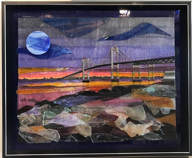 Check out this amazing collage of a painted wood panel with cut artglass on top to depict the Newport Bridge!  #originalart #newportbridge #uniqueart #jamestownri #newportri#northkingstownri #stainedglass #fullergallery