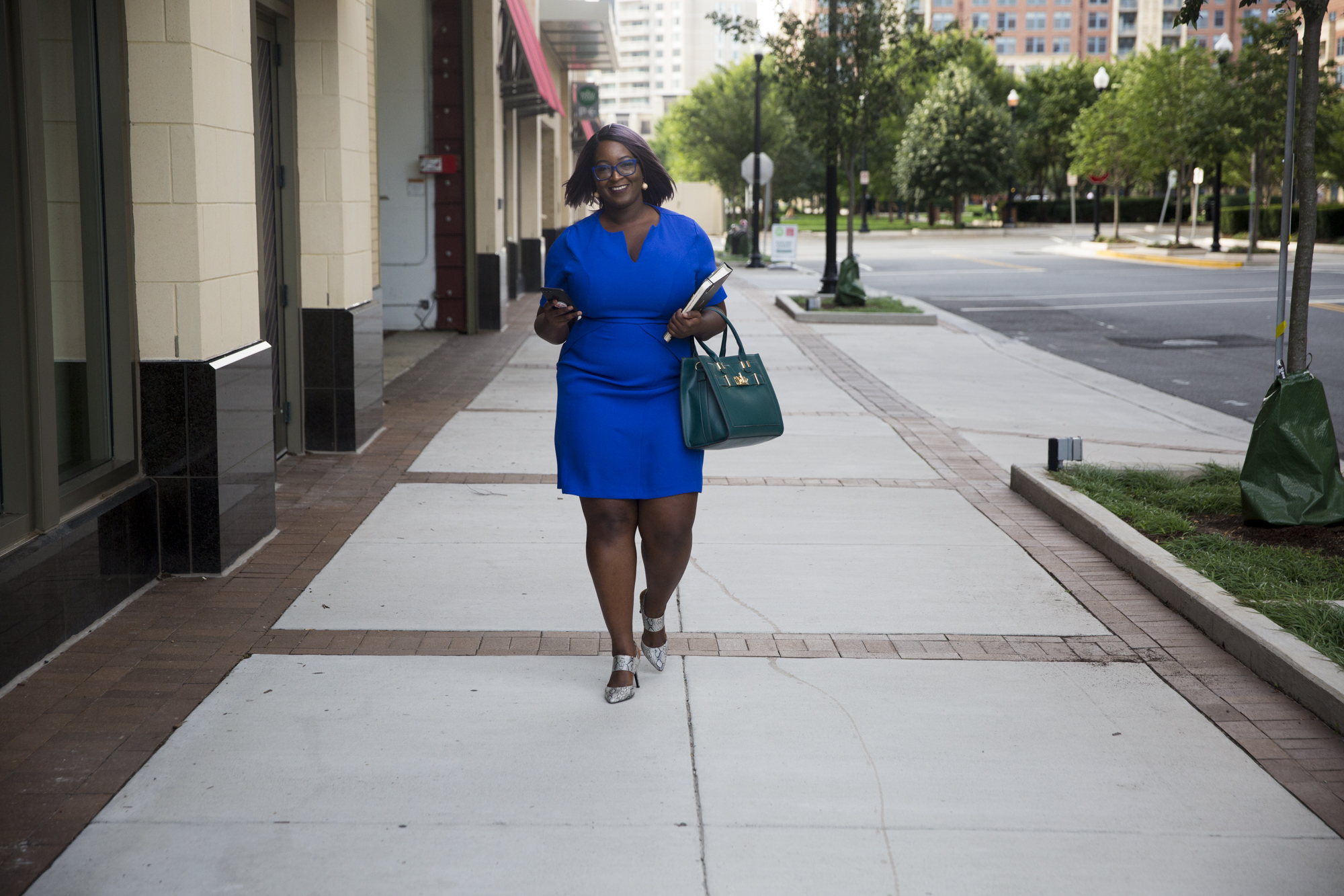 (same dress in blue) bag and shoes from Justfab.com