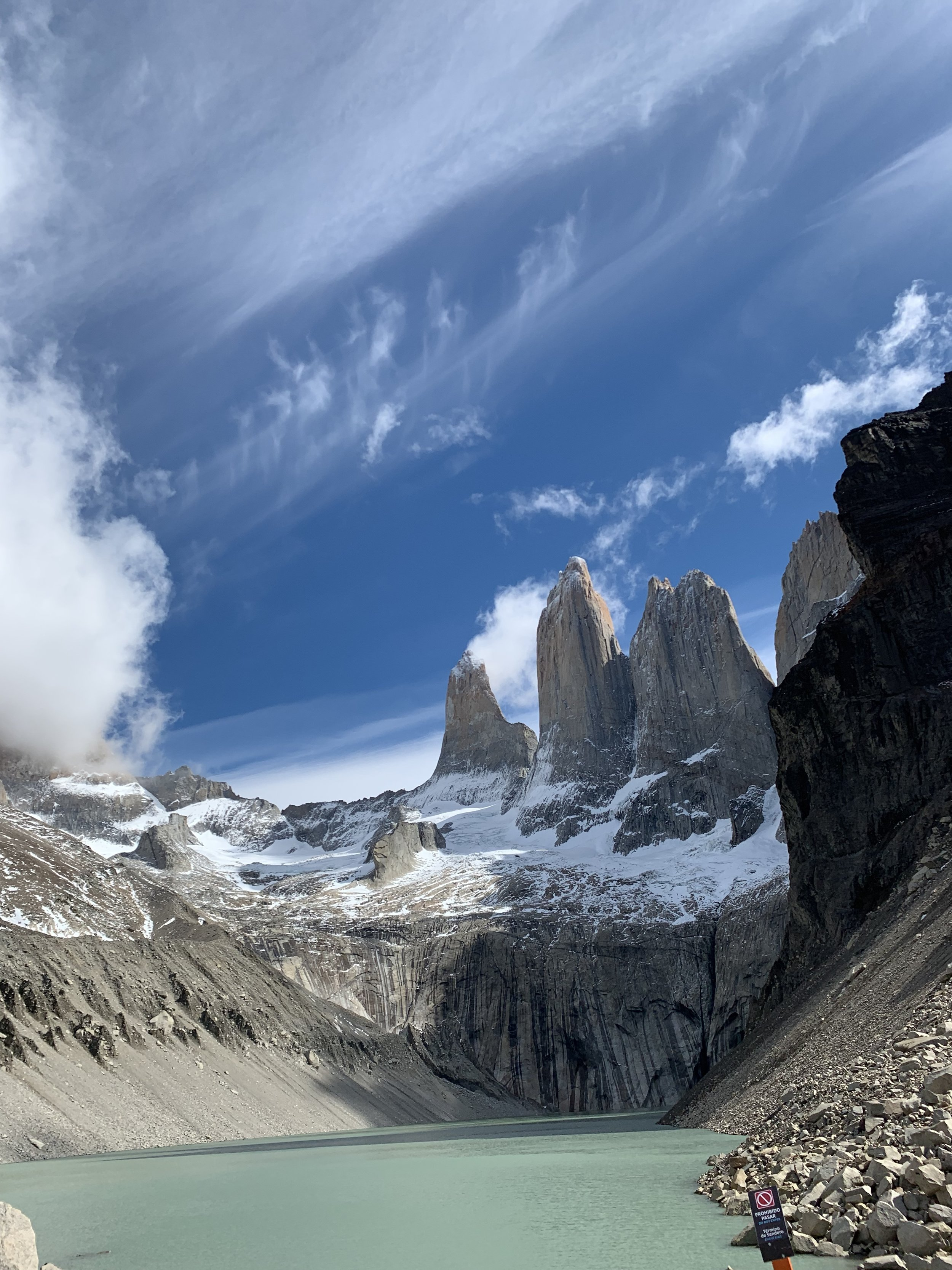 Reaching the 3 Towers on day one of the O Track in Torres Del Pain, Chile Patagonia.
