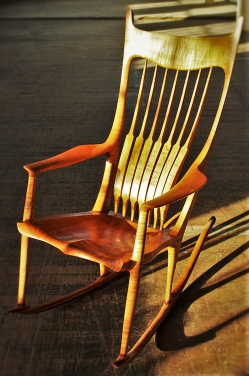 Maloof Rocking Chair    Shown in Figured Sweet Cherry and Purpleheart.