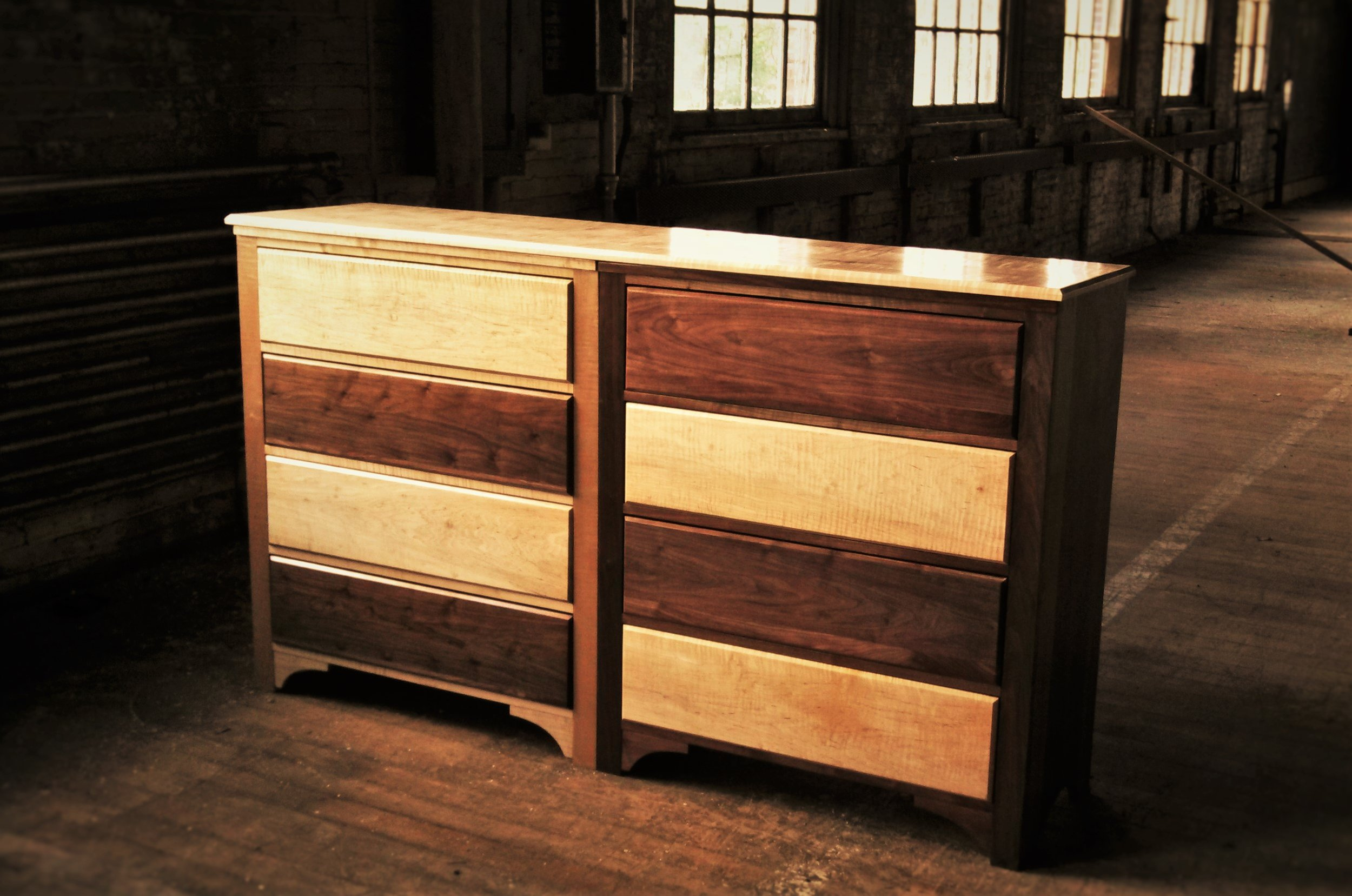 Twin Chest of Drawers     Starting at $4,950 (for two)     Shown in Walnut and Figured Maple