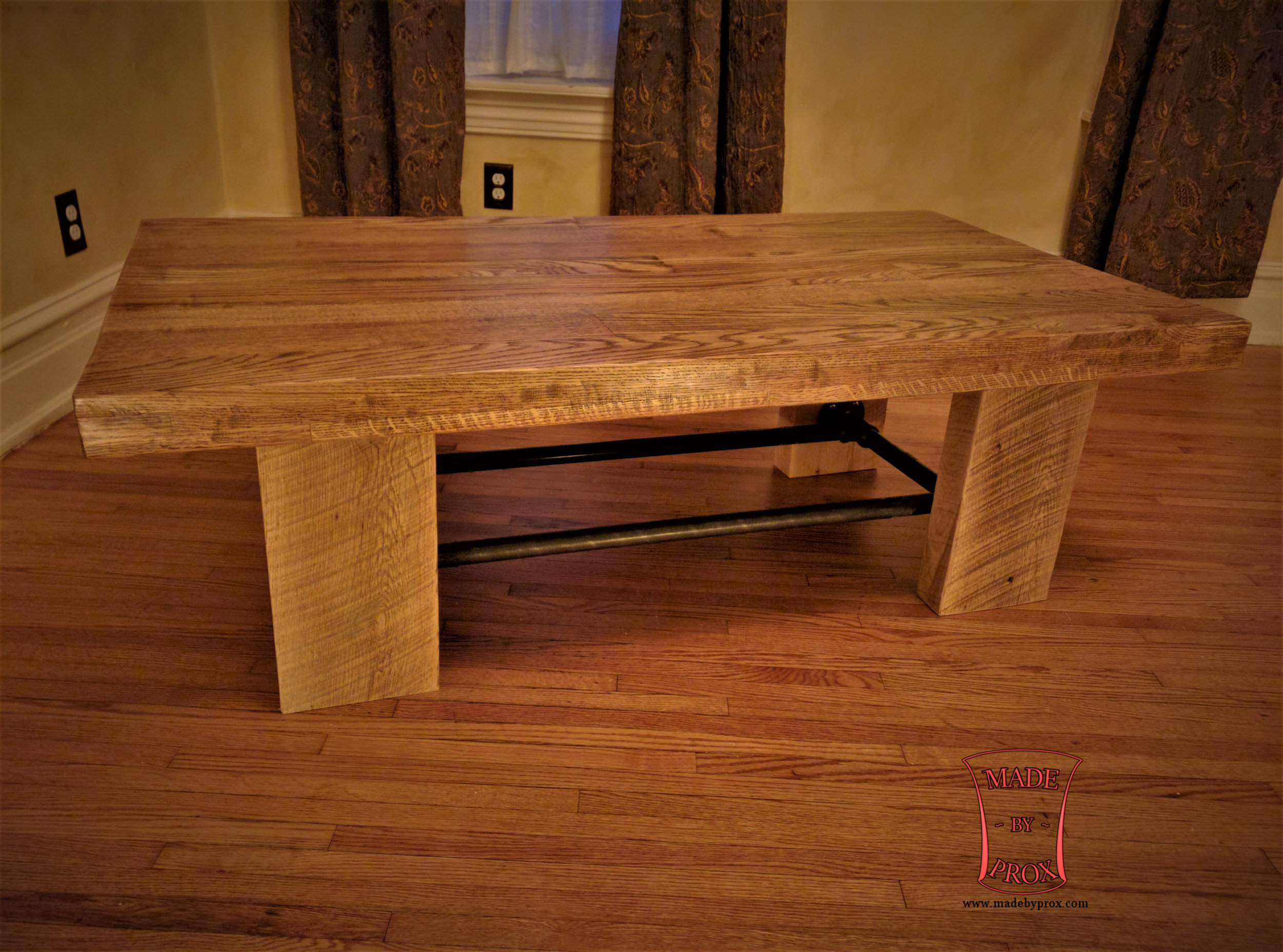 Roughsawn Pipe Table  Starting at $495  Shown inWhite Oak and Amish Oak