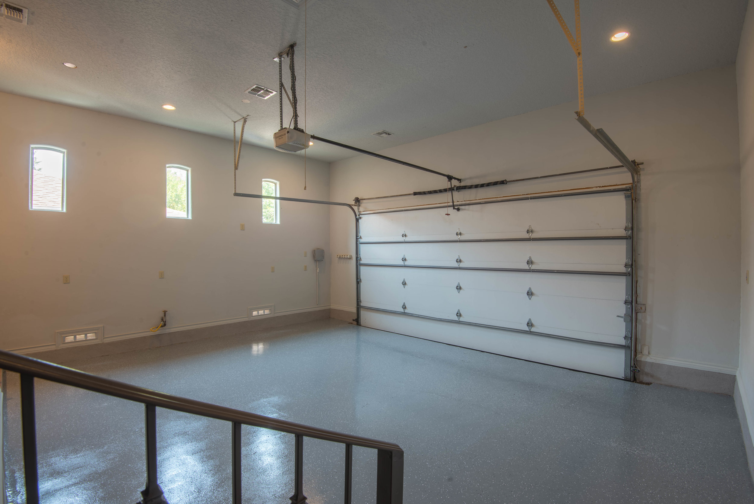 two car garage finished floors