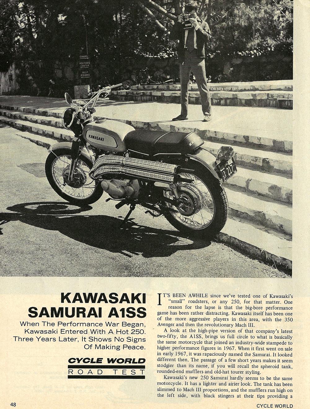 1970 Kawasaki Samurai A1SS road test 01.jpg