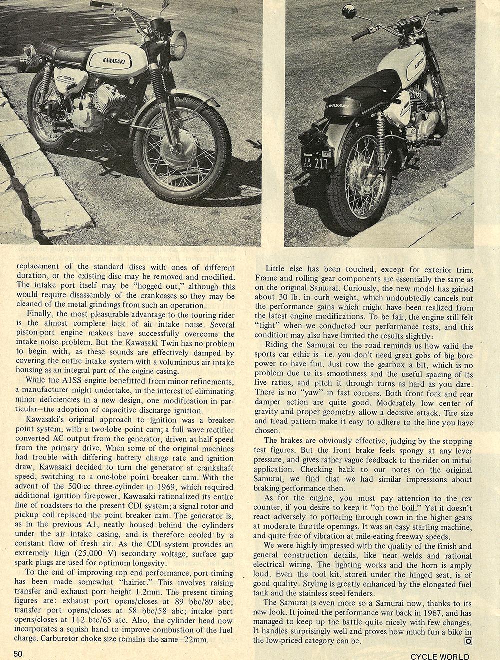 1970 Kawasaki Samurai A1SS road test 03.jpg