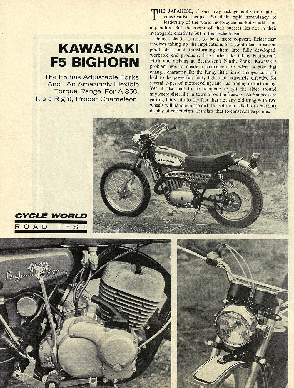 1970 Kawasaki F5 Bighorn road test 01.jpg