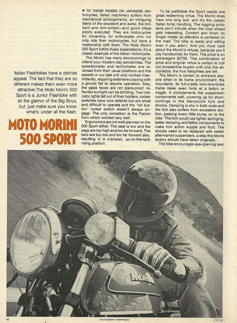 1980 Moto Morini 500 Sport road test 1.JPG