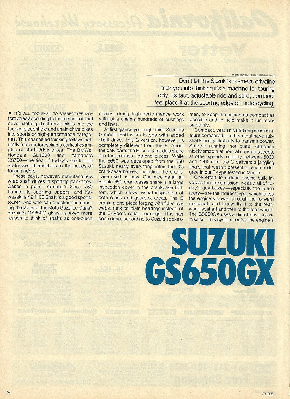 1981 Suzuki GS650 GX road test 01.jpg