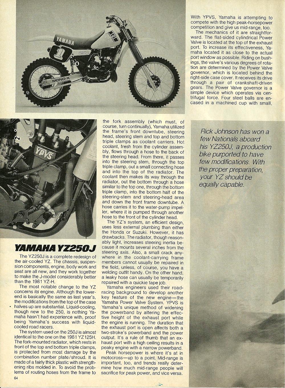 1982 Yamaha YZ250J road test 3.jpg