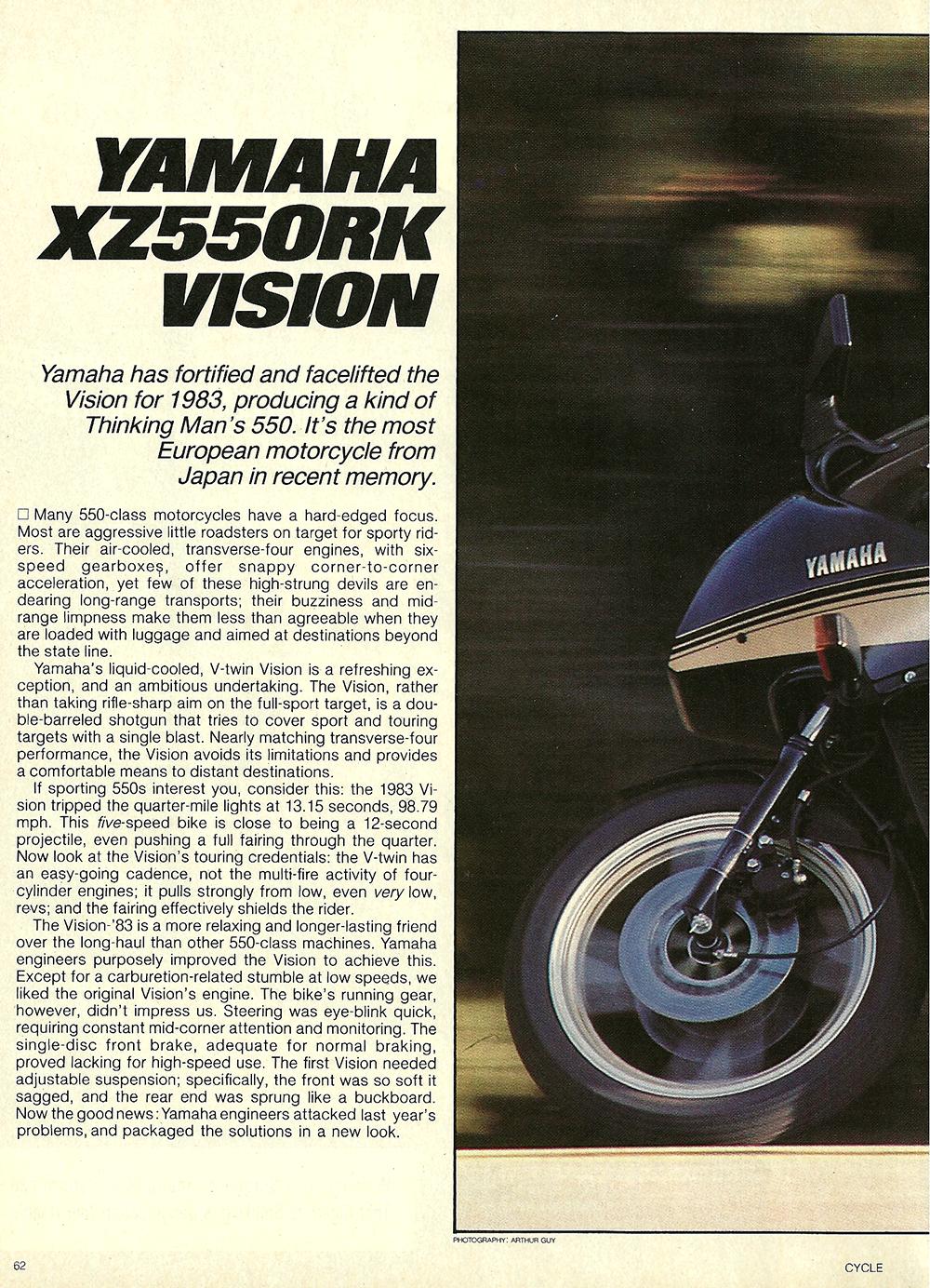 1983 Yamaha Vision XZ550 RK road test — Ye Olde Cycle Shoppe