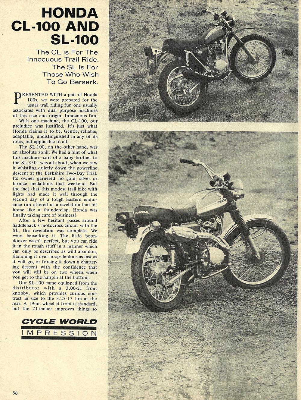 1970 Honda CL100 and SL100 road test 01.jpg
