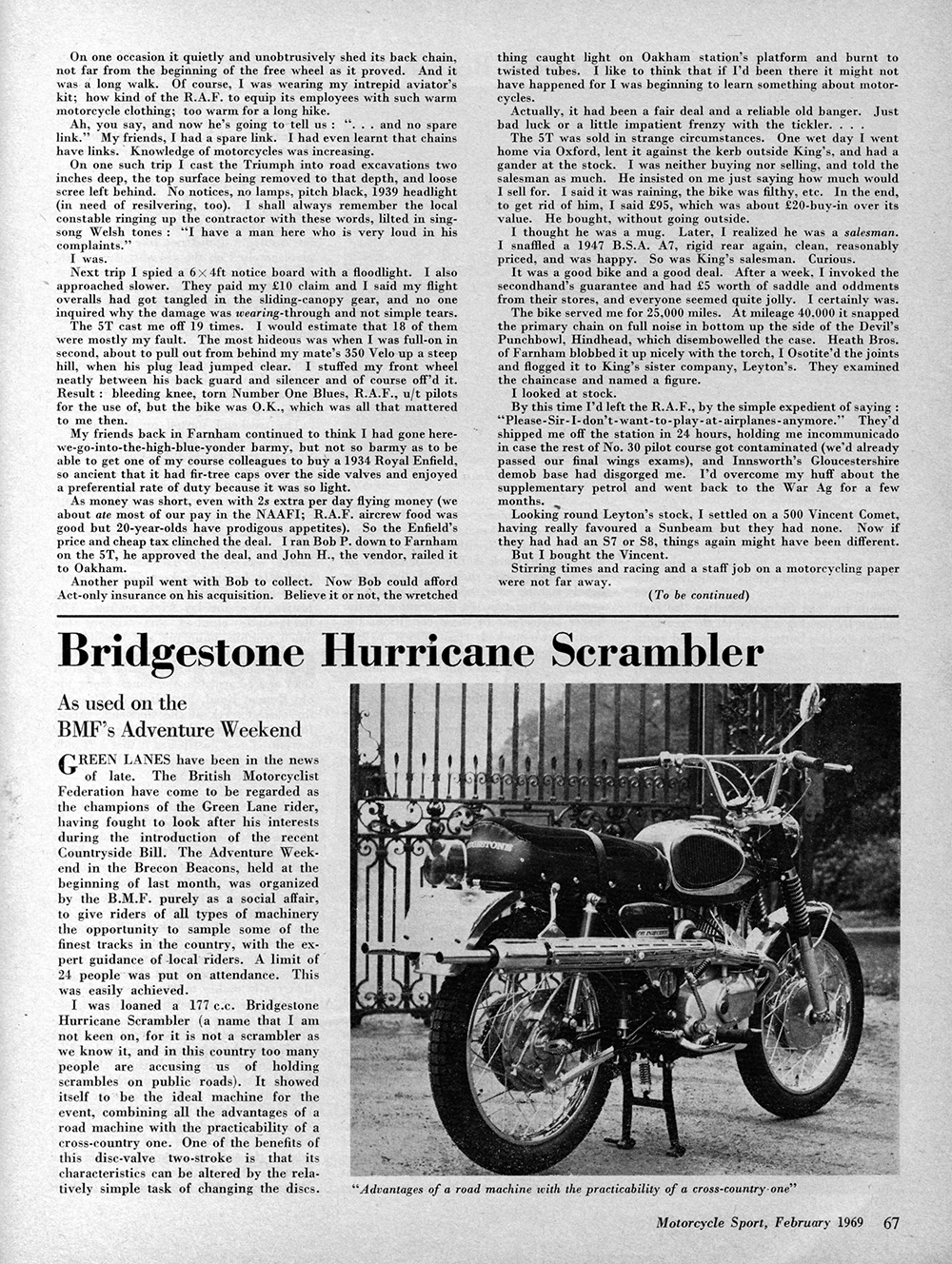 1969 Bridgestone 175 Hurricane Scrambler road test 1.jpg