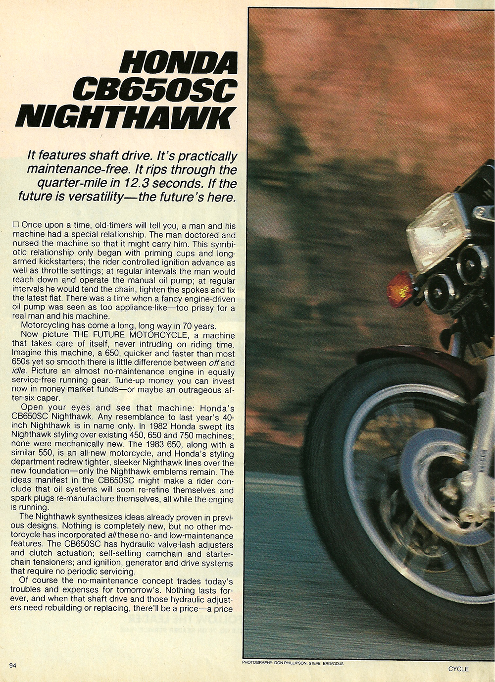 The other 1983 Honda CB650SC Nighthawk road test — Ye Olde