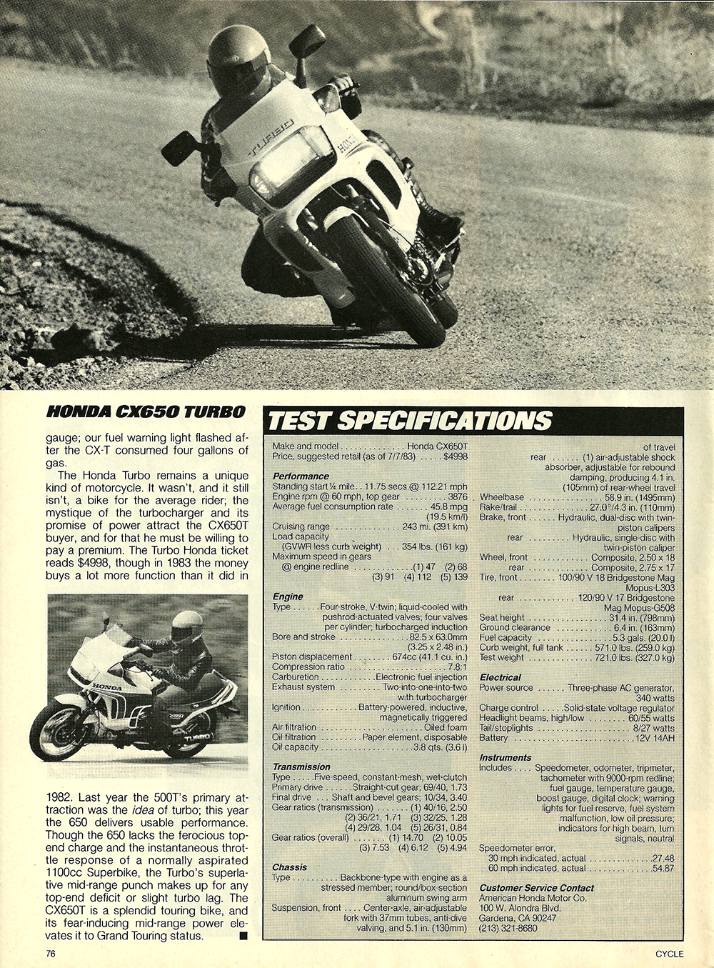 1983 Honda CX650 Turbo road test — Ye Olde Cycle Shoppe