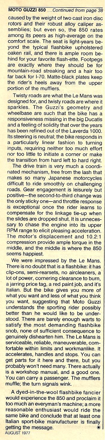 1977 Moto Guzzi 850 LeMans road test 08.jpg