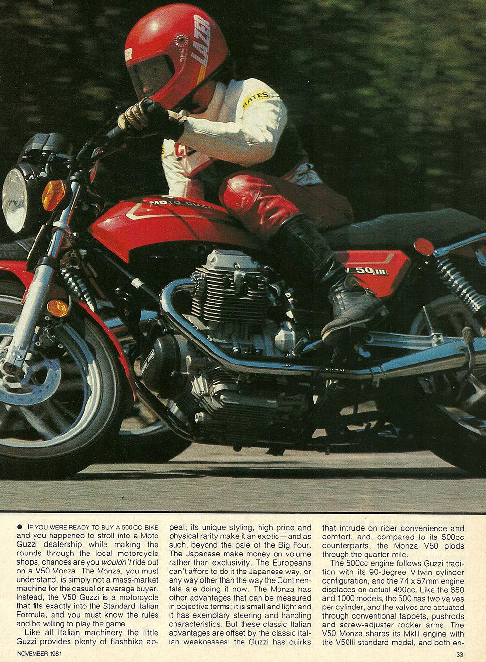 1981 Moto Guzzi V50 Monza road test 02.jpg