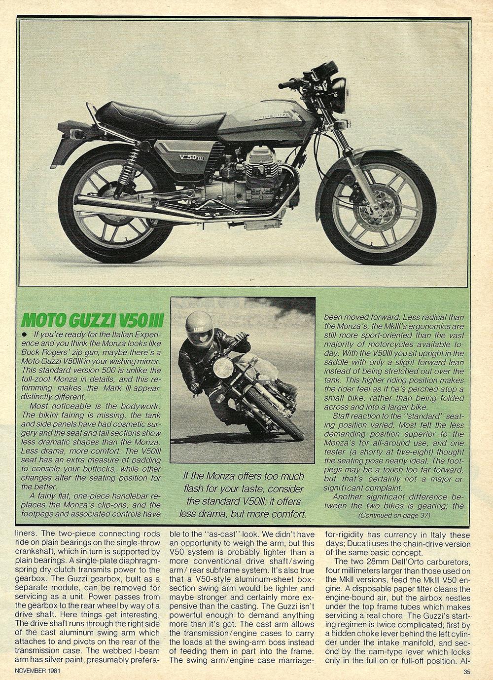 1981 Moto Guzzi V50 Monza road test 04.jpg