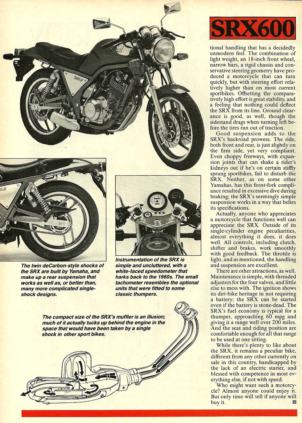1986 Yamaha SRX600 road test 05.jpg