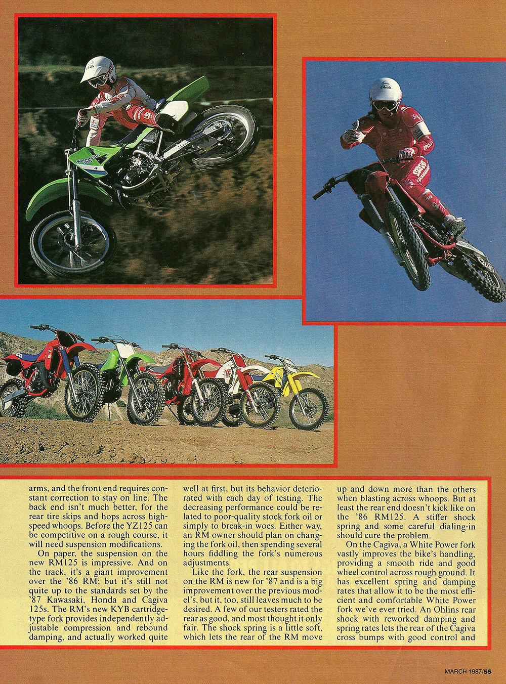 1987 Comparison KX125 vs RM125 vs Cagiva 125MX vs YZ125 vs CR125 road test 04.jpg