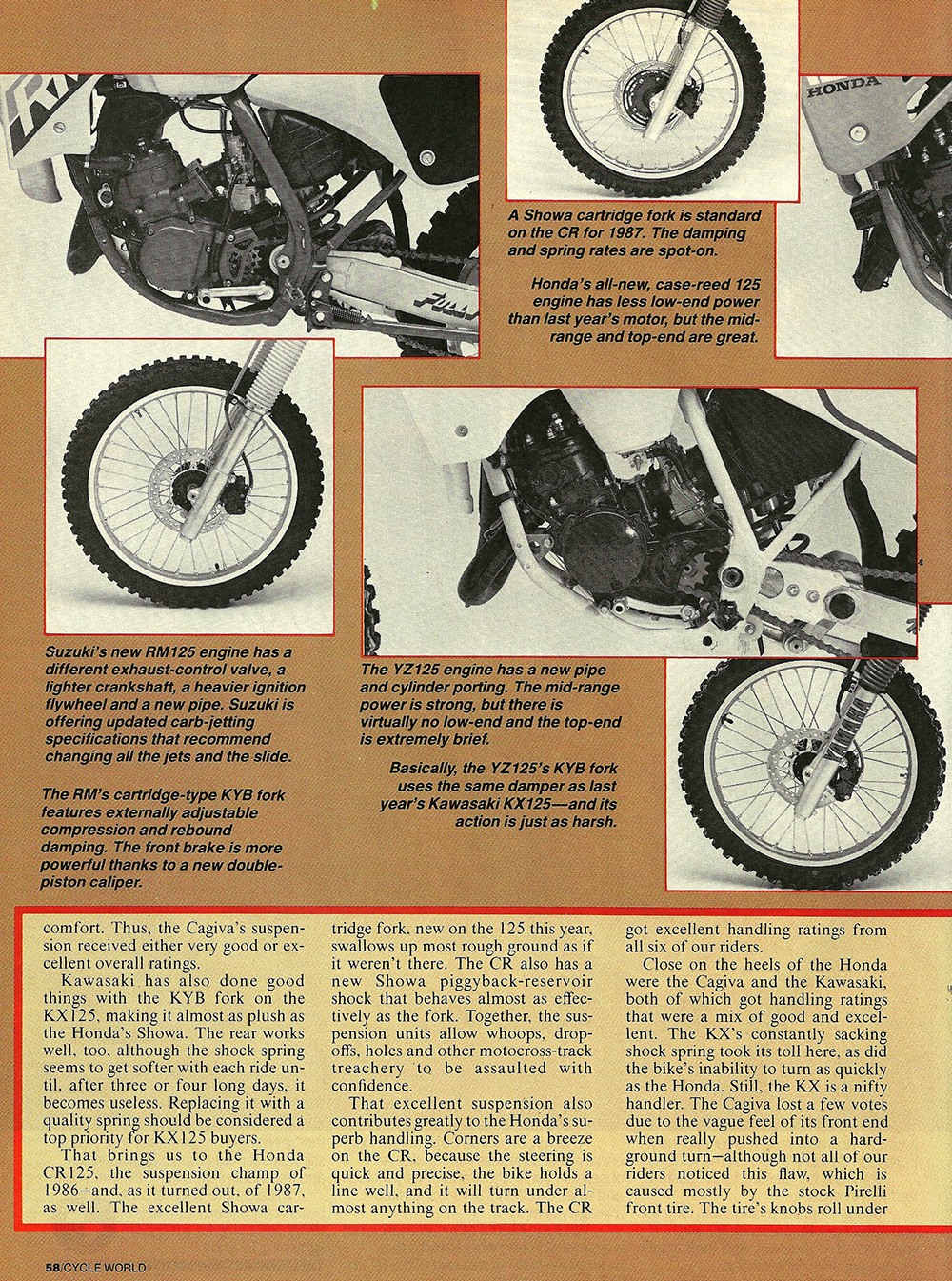 1987 Comparison KX125 vs RM125 vs Cagiva 125MX vs YZ125 vs CR125 road test 07.jpg