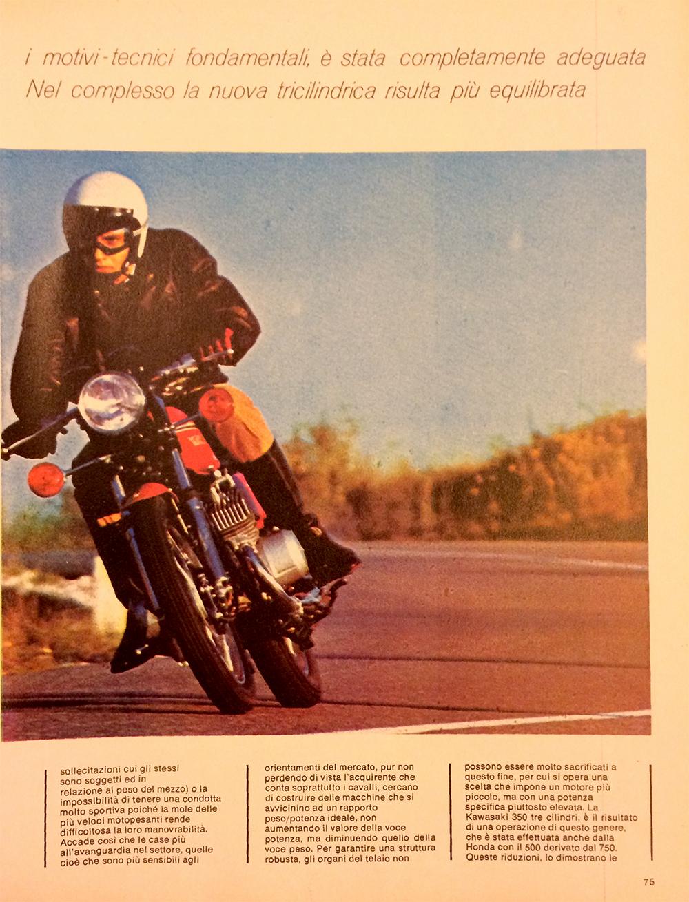 1971 Kawasaki 350 S2 Italy road test 03.jpg