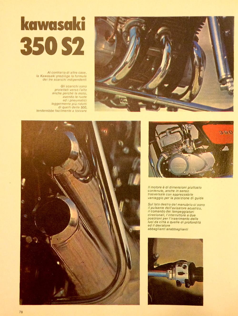 1971 Kawasaki 350 S2 Italy road test 06.jpg