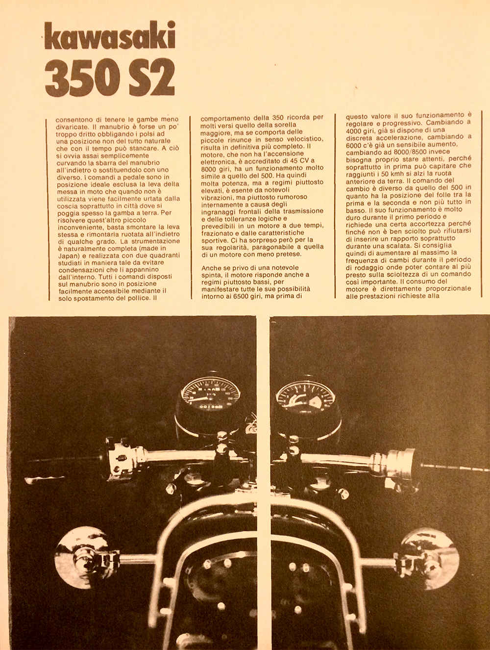 1971 Kawasaki 350 S2 Italy road test 08.jpg