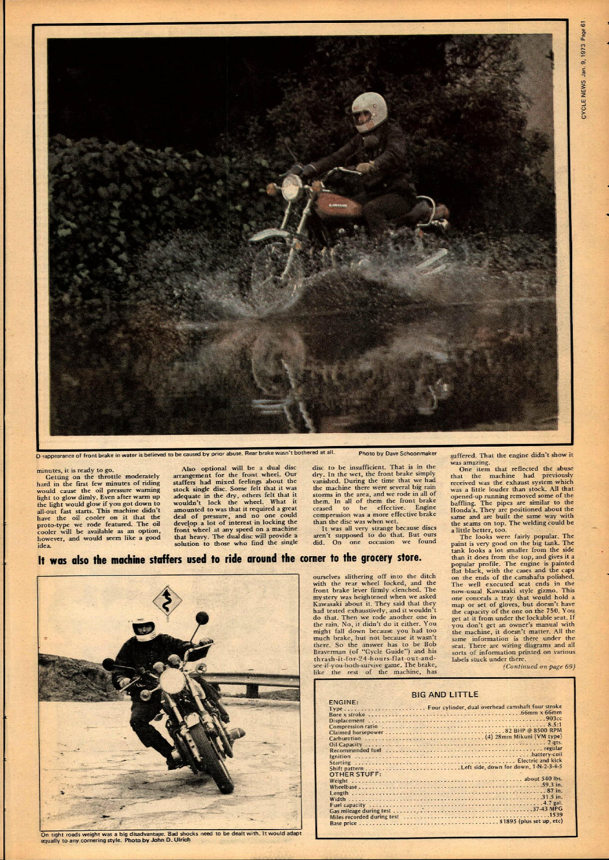 1973 Kawasaki Z1 900 road test — Ye Olde Cycle Shoppe