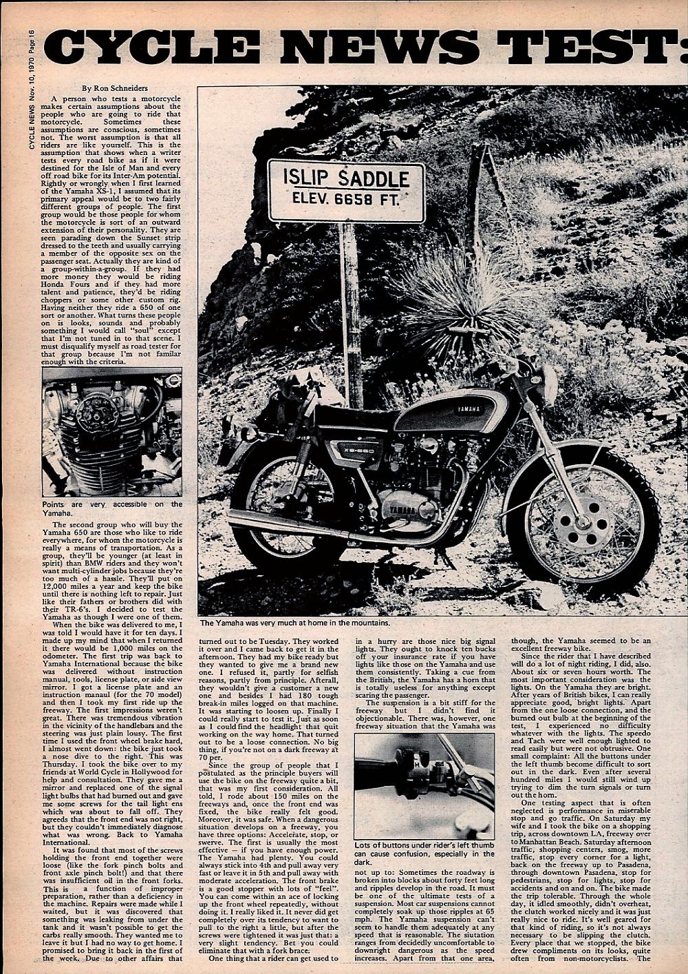 1970 Yamaha XS-1B road test. 1.jpg