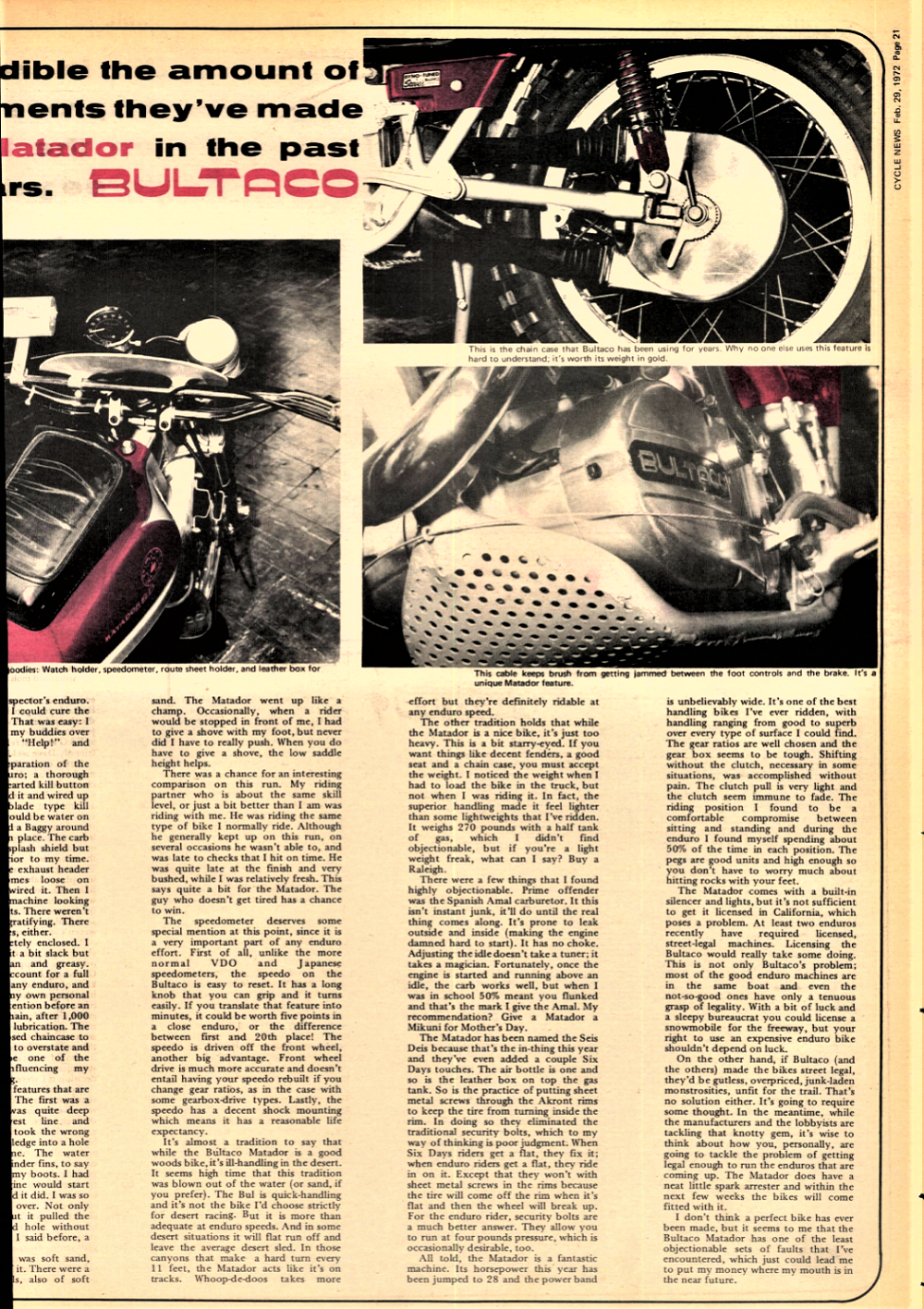 1972 Bultaco Matador road test  — Ye Olde Cycle Shoppe
