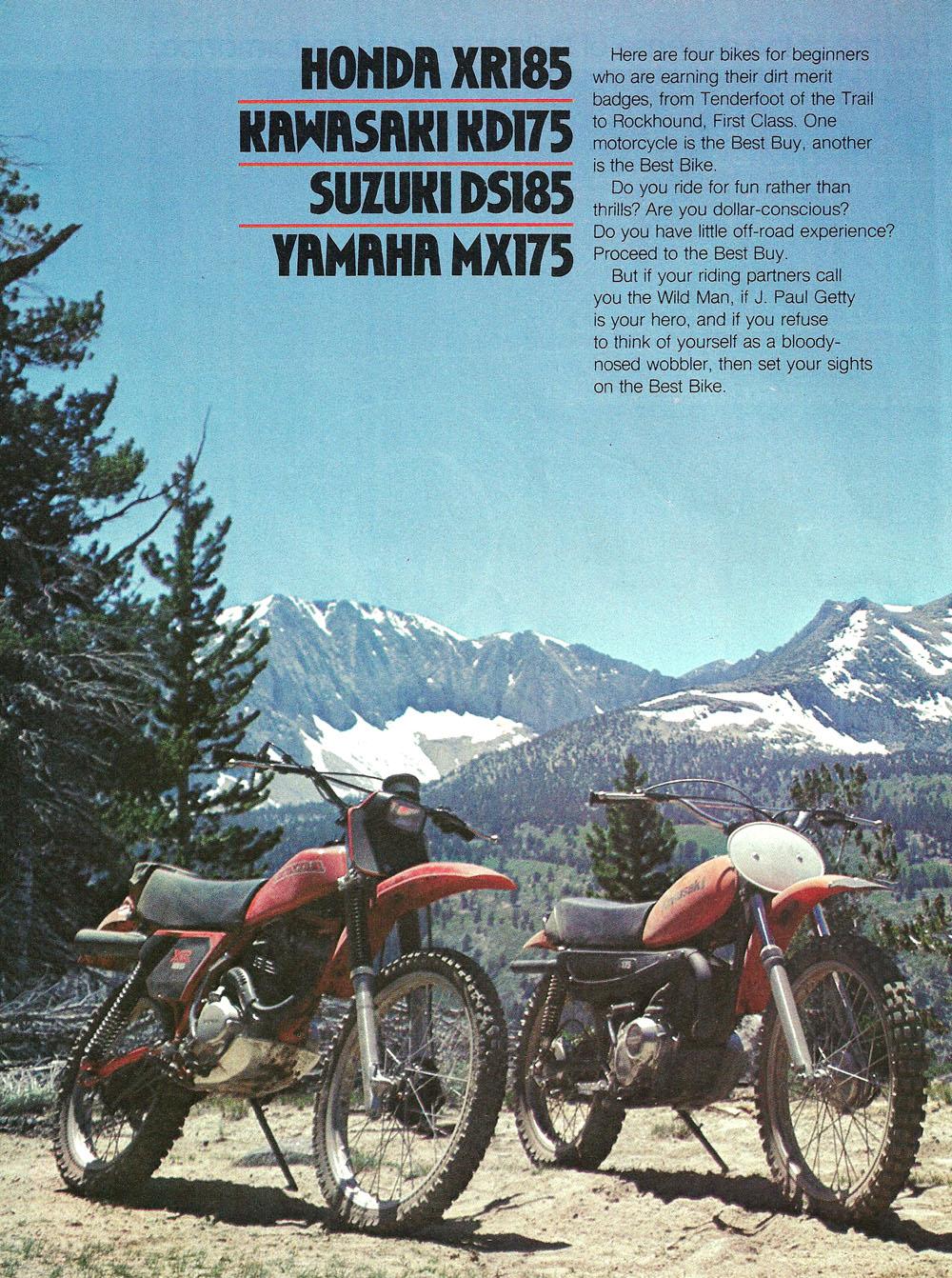 1979 Comparison XR185 KD175 DS185 MX175 test 01.jpg