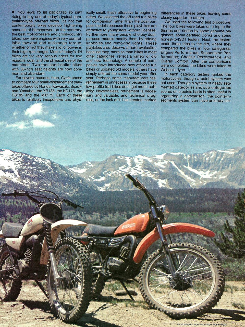 1979 Comparison XR185 KD175 DS185 MX175 test 02.jpg