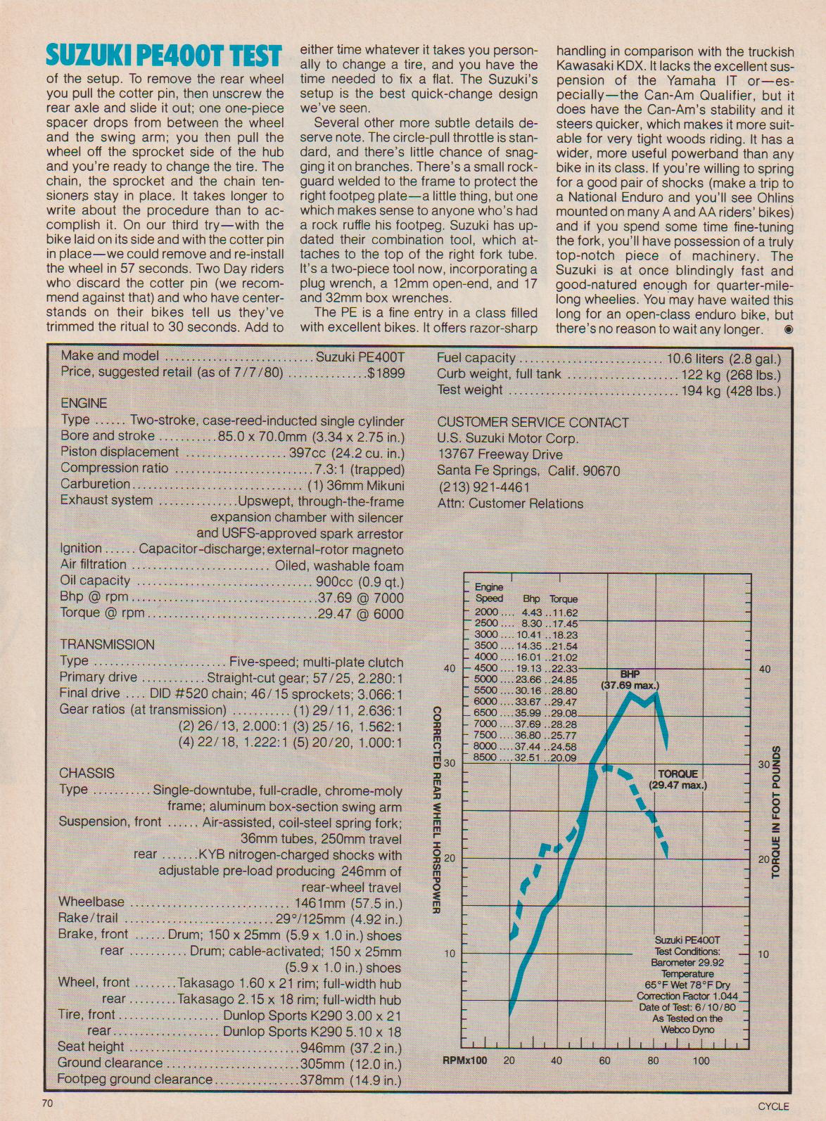 1980 Suzuki Pe400t Road Test Ye Olde