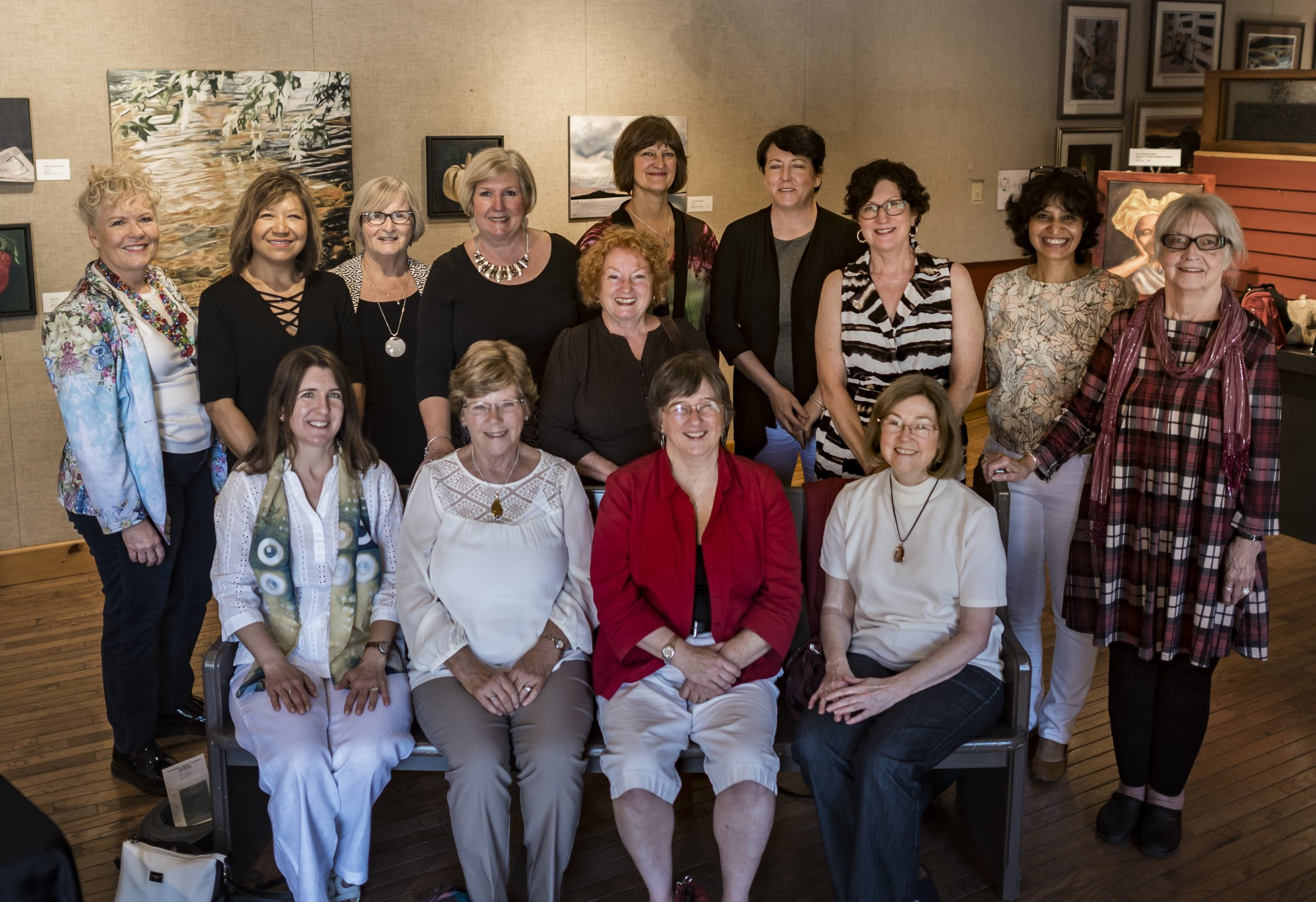 Here we are! Some of our founding members at the 2017 CGOS Inaugural Members' Exhibition at Tillsonburg Station Arts Centre in Tillsonburg, ON.  Back Row: Cathy Griggs, Marilyn Rosati, Pat Welch, Cathy Roberts, Adriana Rinaldi, Louise Doyle, Cindy Steinke, Meru Chowduri Parmar, Eileen Sakal, Front Row: Vanessa Cress Lokos, Isabel Haslam, Kathy Marlene Bailey, Sylvia Horvath