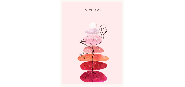 Flamingo & Stacked Stones