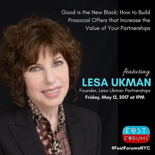 Join Lesa Ukman now to discuss how to maximize value in your partnerships at your event. #festforumsnyc