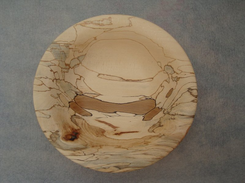 Spalted Beech bowl. Several fungi have altered the wood, introducing different colours and patterns. The dark brown is the original colour of the wood..JPG