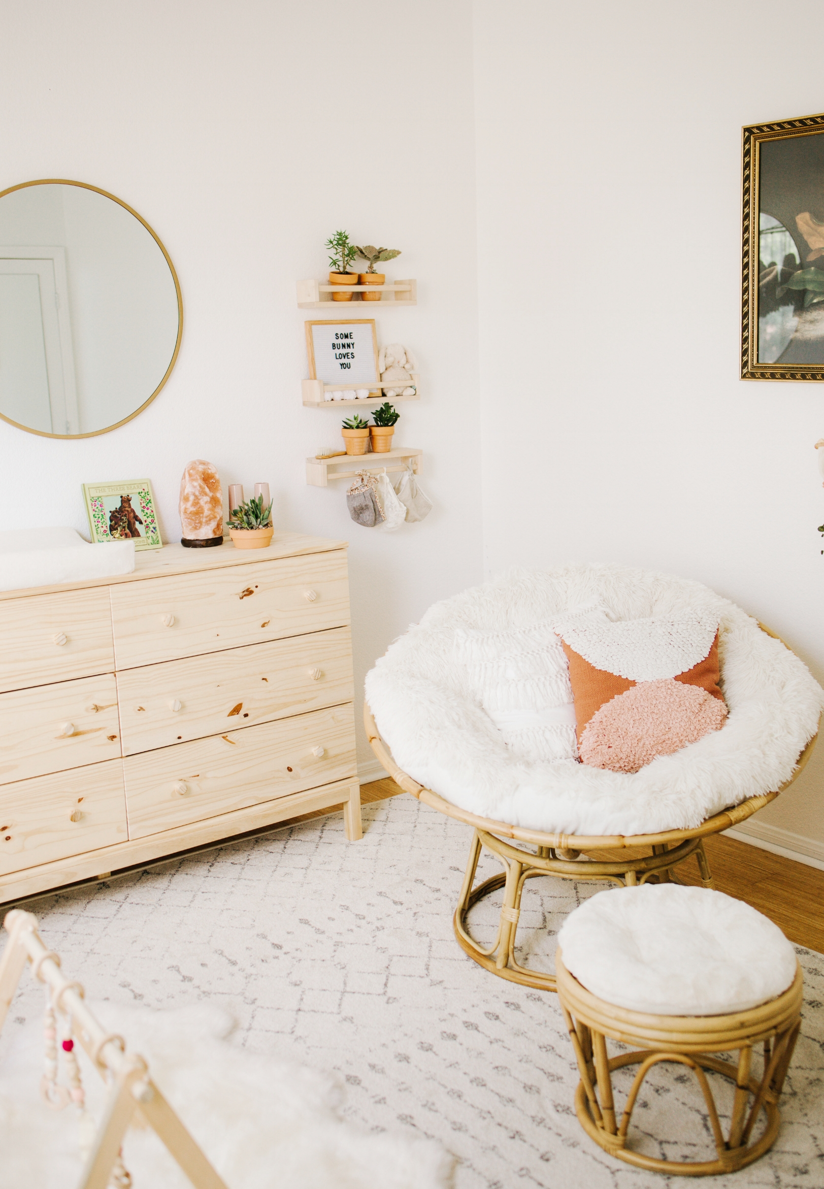Boho Nursery With Papasan Chair