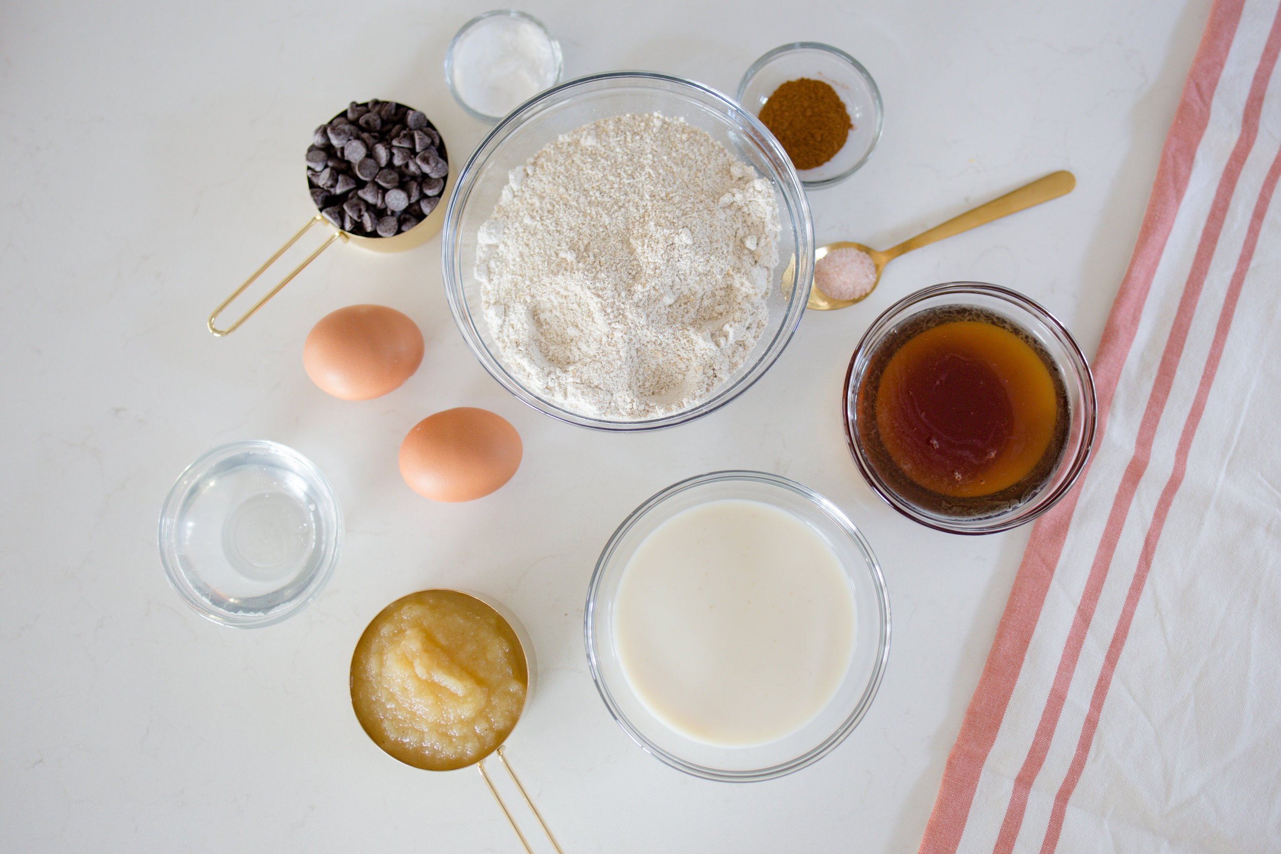Flat Lay of Ingredients for Healthy Gluten Free Dairy Free Muffins