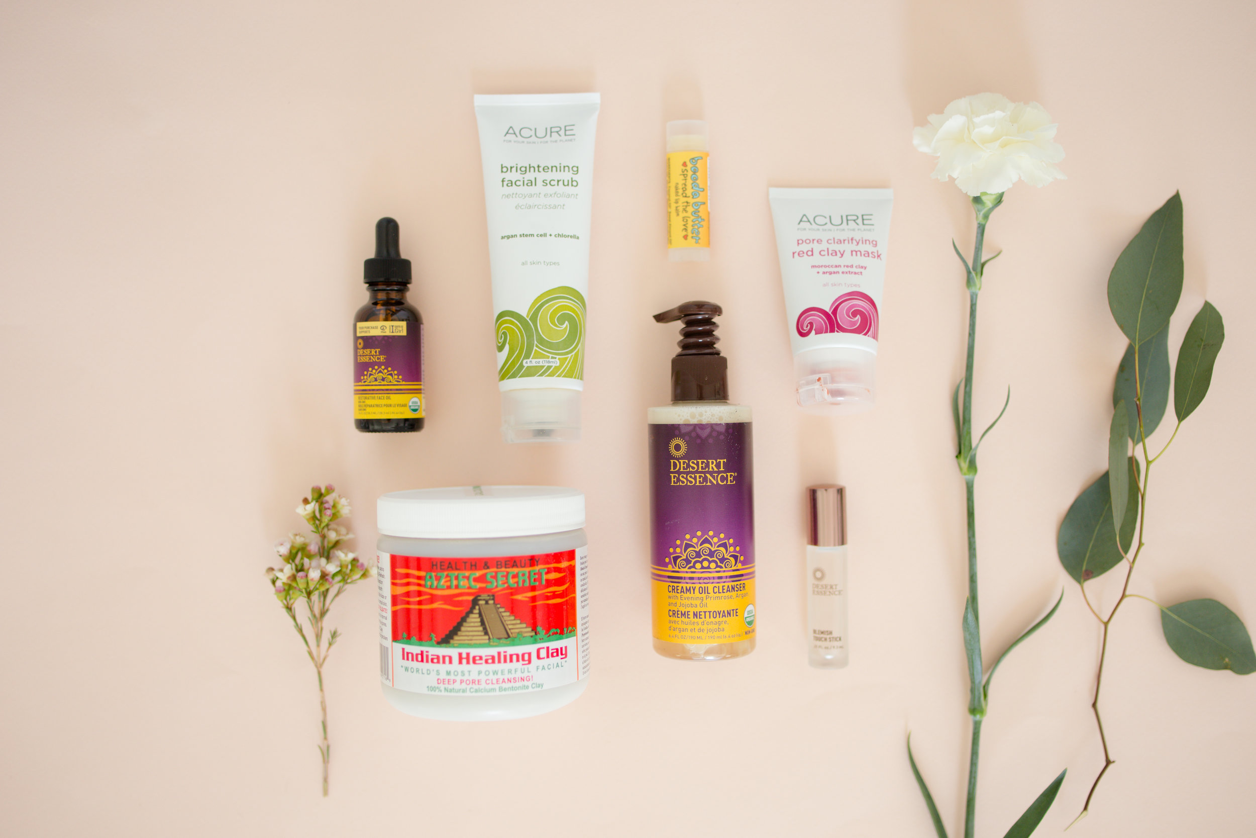 Flat Lay of Green & Organic Beauty Products; Brands Desert Essence, and Acure