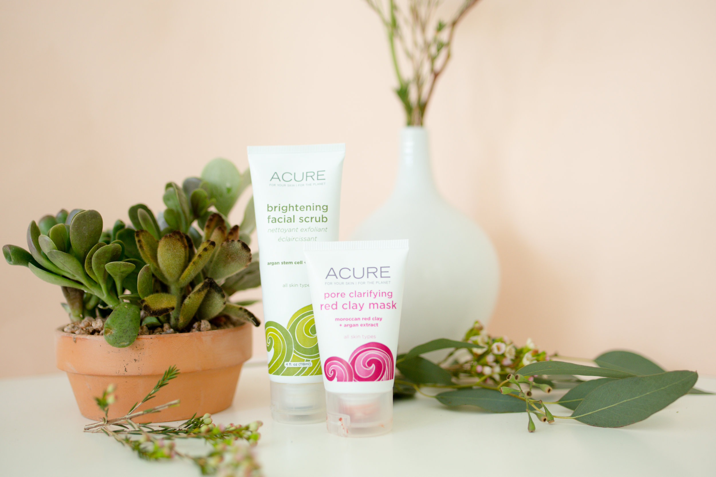 Favorite Green Beauty Products Acure Brightening Facial Scrub & Pore Clarifying Red Clay Mask