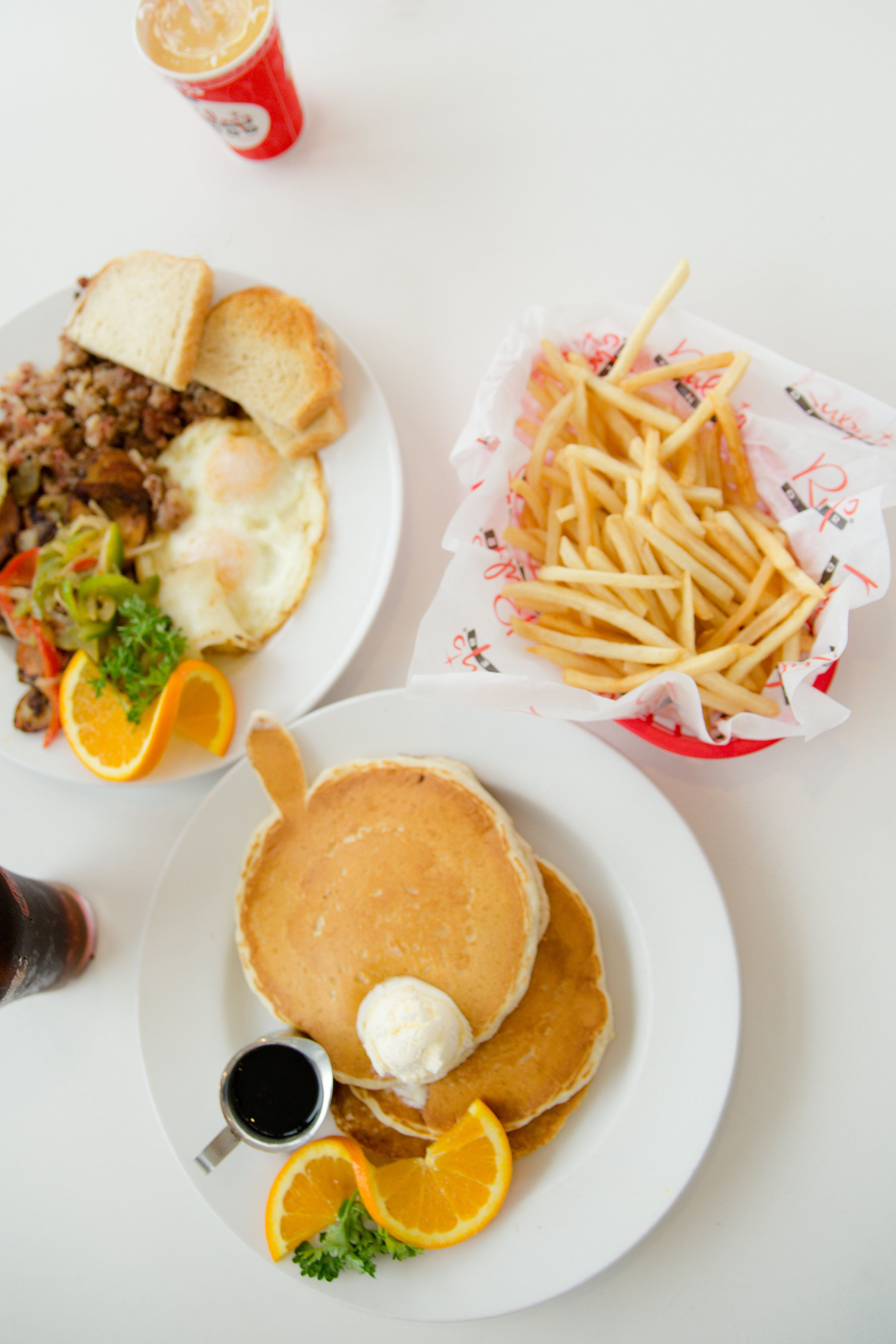 French fries, pancakes, and milkshakes for breakfast at Ruby's at the Oceanside Pier