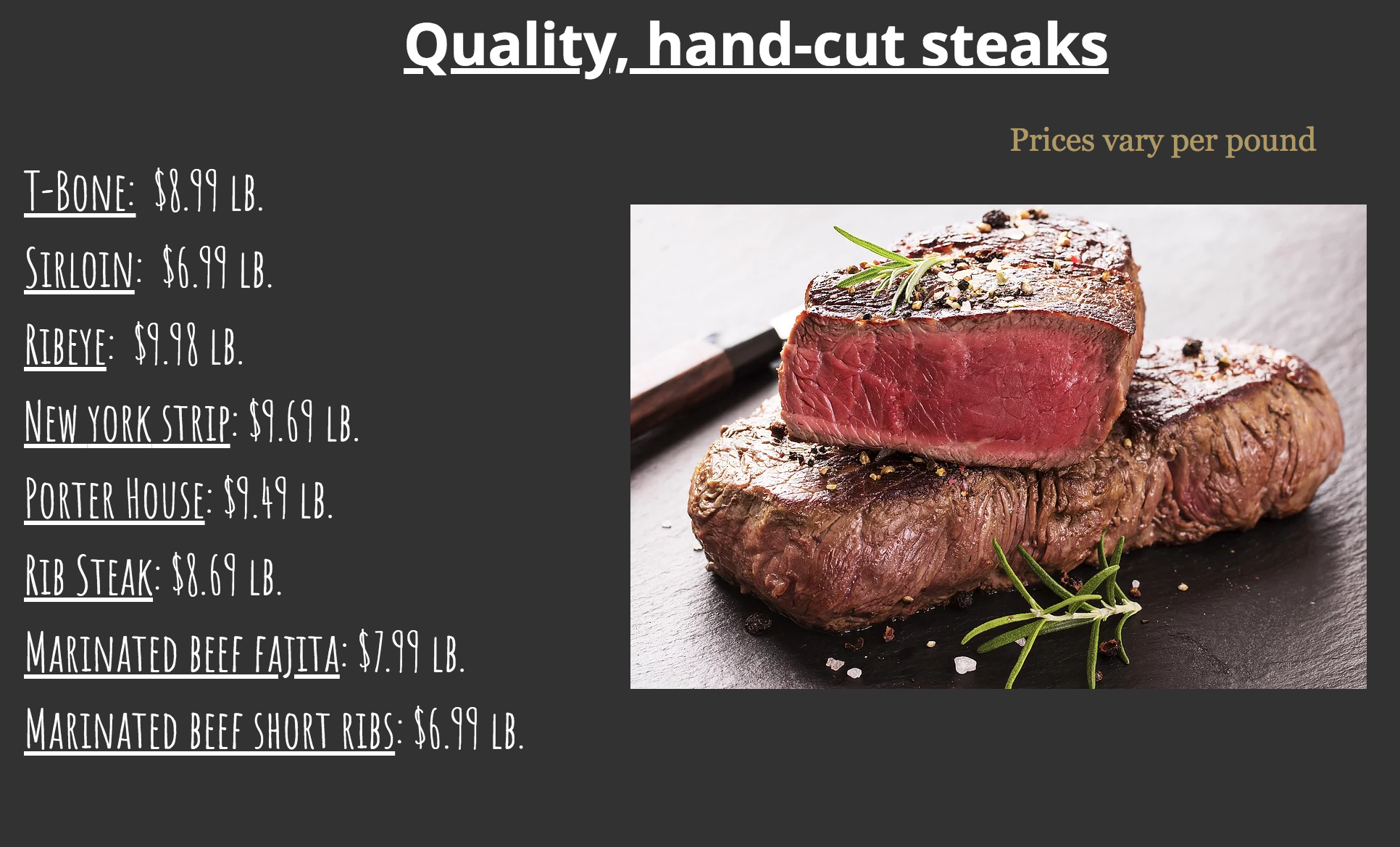 Craft beef prices!