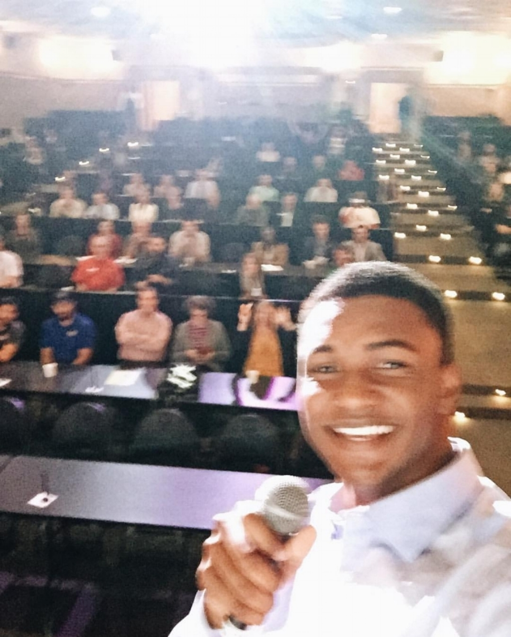 """You made it!  1 Million Cups Waco  captions the above photo, """"As we promised:  @kevinrenois'  selfie in all its **week one jitters from being so excited it came out blurry** glory!"""" Well on its way, 1 Million Cups is sharper than ever: 9AM Wednesdays at the Hippodrome."""