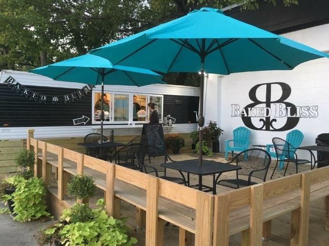 Baked Bliss welcomes you! Enjoy their mist-ers when there's a line  and  while you eat your goodies on the porch!