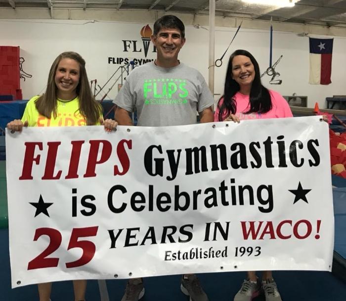 Owners of Flips Gymnastics Stephanie and Dale Mayfield with Darlene Brooks