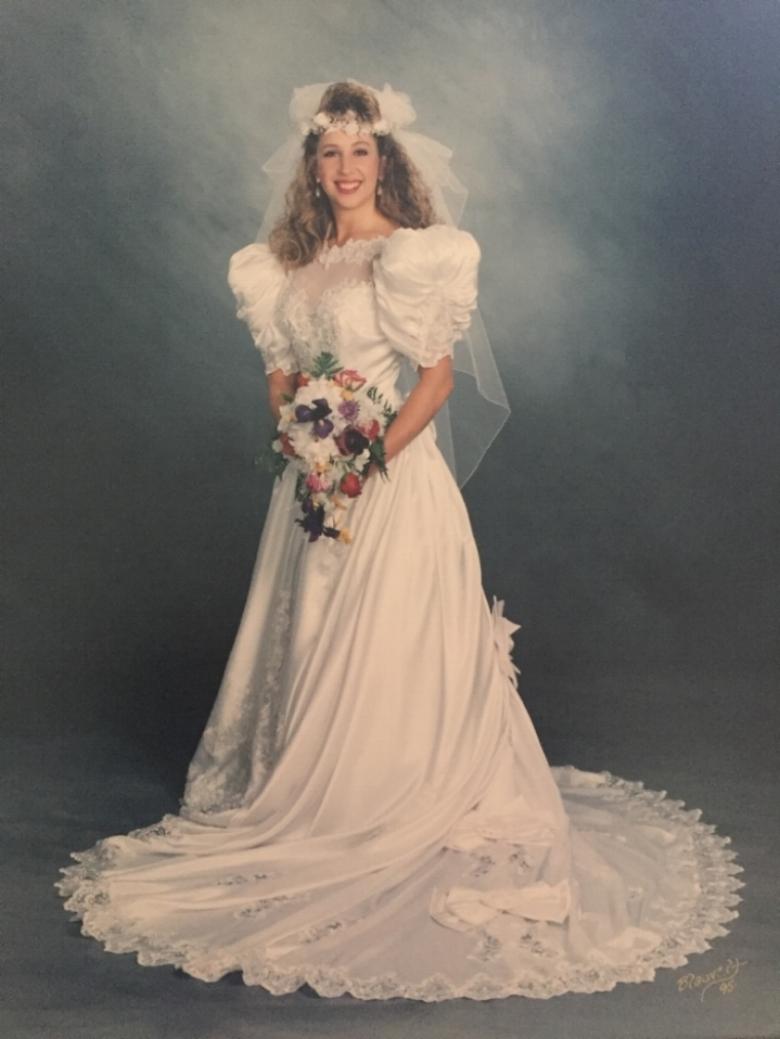 Stephanie Mayfield, on her wedding day, wearing coach + more, Darlene Brooks' wedding gown
